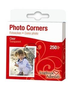 Coins photos, L: 10 mm, transparent, 250 pièce/ 1 Pq.