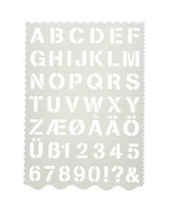 Pochoir, lettres et chiffres, H: 25 mm, 21x29 cm, 1 pièce