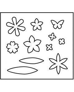 Gabarit de coupe en acier, fleurs, dim. 14x15,25 cm, ép. 15 mm, 1 pièce