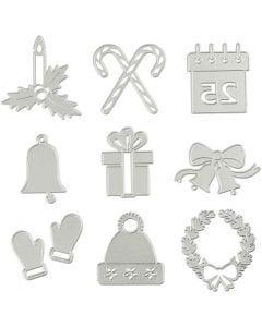 Gabarit de coupe et matrice de découpe, motifs de Noël, d: 2-6,5 cm, 1 pièce