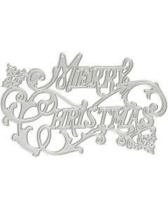 Gabarit de coupe et matrice de découpe, Merry Christmas, d: 11,5x7,2 cm, 1 pièce