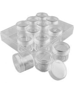 Coffret de rangement avec pots, H: 30 mm, d: 35 mm, 20 ml, 12 pièce/ 1 set