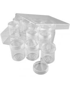Coffret de rangement avec pots, H: 47 mm, d: 37 mm, 35 ml, 12 pièce/ 1 set