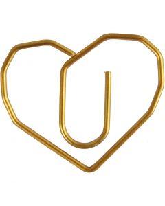 Attaches trombones, coeur, dim. 30x20 mm, or, 6 pièce/ 1 Pq.