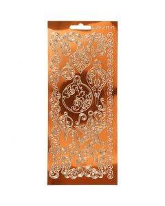 Autocollants, décorations, 10x23 cm, or, 1 flles