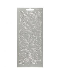 Autocollants, feuilles, 10x23 cm, argent, 1 flles