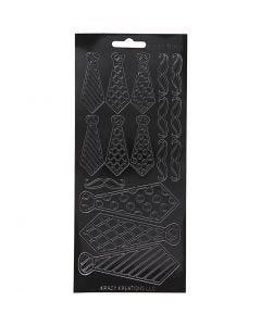 Autocollants, cravates, 10x23 cm, noir, 1 flles