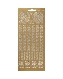 Autocollants, chiffres de célébration, 10x23 cm, or, 1 flles