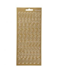 Autocollants, chiffres, 10x23 cm, or, 1 flles