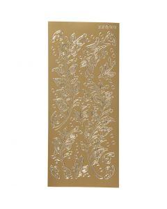 Autocollants, feuilles, 10x23 cm, or, 1 flles