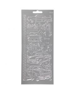Autocollants, voitures, 10x23 cm, argent, 1 flles