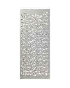 Autocollants, bryllup, 10x23 cm, argent, 1 flles