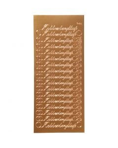 Autocollants, kobberbryllup, 10x23 cm, copper, 1 flles