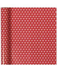 Papier cadeau, tambour, L: 70 cm, 80 gr, rouge, blanc, 4 m/ 1 rouleau