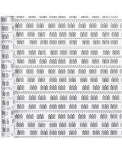 Papier cadeau, cabines de plage, L: 70 cm, 80 gr, noir, blanc, 4 m/ 1 rouleau