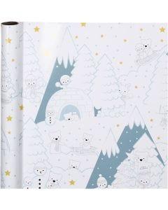 Papier cadeau, Noël polair, L: 70 cm, 80 gr, 4 m/ 1 rouleau