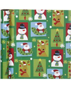Papier cadeau, Noël carré, L: 70 cm, 80 gr, 4 m/ 1 rouleau