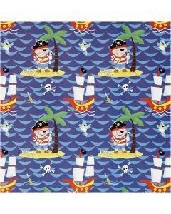 Papier cadeau, pirates, L: 50 cm, 80 gr, 5 m/ 1 rouleau