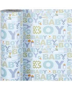 Papier cadeau, baby boy, L: 50 cm, 80 gr, 150 m/ 1 rouleau