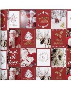 Papier cadeau, Motifs de Noël, L: 50 cm, 80 gr, or, rouge, 3 m/ 1 rouleau