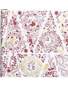 Papier cadeau, Sapins de Noël, L: 50 cm, 80 gr, or, rouge, blanc, 3 m/ 1 rouleau