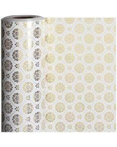 Papier cadeau, Carreaux, L: 50 cm, 80 gr, or, blanc, 100 m/ 1 rouleau