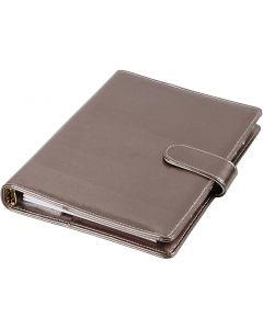 Agenda, dim. 19x23,5x4 cm, Agenda à anneaux, gris foncé métallique, 1 pièce