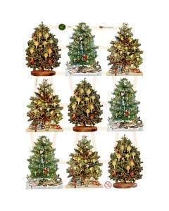 Découpes vintage, arbre de Noël, 16,5x23,5 cm, 3 flles/ 1 Pq.