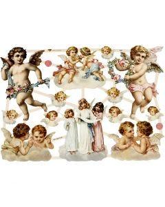 Découpes vintage, gros anges, 16,5x23,5 cm, 3 flles/ 1 Pq.