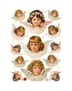 Découpes vintage, anges féminins, 16,5x23,5 cm, 3 flles/ 1 Pq.
