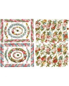 Découpes vintage, petites fleurs, 16,5x23,5 cm, 2 flles/ 1 Pq.