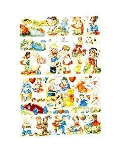Découpes vintage, enfants, 16,5x23,5 cm, 2 flles/ 1 Pq.