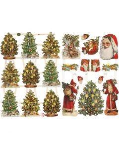 Découpes vintage, Père Noël et sapins de Noël, 16,5x23,5 cm, 2 flles/ 1 Pq.