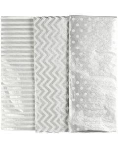 Papier de soie, 50x70 cm, 17 gr, argent, 6 flles/ 1 Pq.