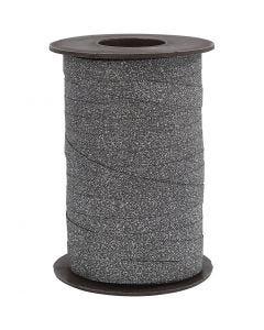 Ruban cadeau, L: 10 mm, paillettes, noir, 100 m/ 1 rouleau