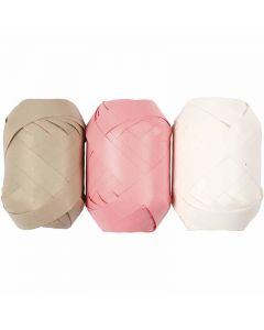 Ruban cadeau, L: 10 mm, beige, rouge clair, blanc, 3x10 m/ 1 Pq.