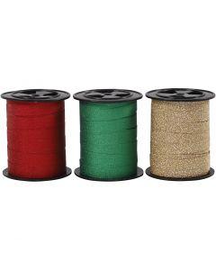 Ruban bolduc, L: 10 mm, paillettes, or, vert, rouge, 3x15 m/ 1 Pq.