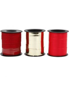 Ruban bolduc, or, rouge, glitter rouge, 3x15 m/ 1 Pq.