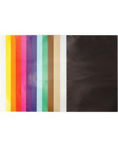 Papier glacé, 24x32 cm, 80 gr, couleurs assorties, 50 flles/ 1 Pq.