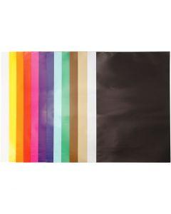 Papier glacé, 32x48 cm, 80 gr, couleurs assorties, 100 flles/ 1 Pq.
