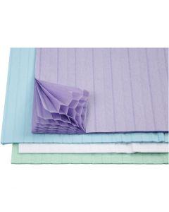 Papier nid d'abeille, 28x17,8 cm, bleu clair, vert, violet, blanc, 4x2 flles/ 1 Pq.