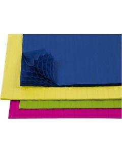 Papier nid d'abeille, 28x17,8 cm, couleurs assorties, 4x2 flles/ 1 Pq.