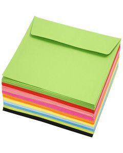 Enveloppes colorées, dimension enveloppes 16x16 cm, 80 gr, couleurs assorties, 10x10 pièce/ 1 Pq.