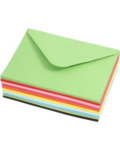Enveloppes couleur, dimension enveloppes 11,5x16 cm, 80 gr, 10x10 pièce/ 1 Pq.