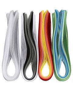 Bandes pour quilling, L: 78 cm, L: 5 mm, 120 gr, couleurs assorties, 12x100 pièce/ 1 Pq.