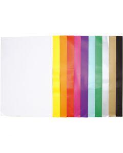 Papier glacé, 32x48 cm, 80 gr, couleurs assorties, 11x25 flles/ 1 Pq.