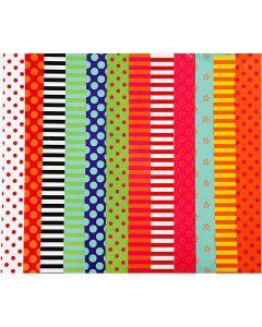 Papier glacé, motifs, 24x32 cm, 80 gr, couleurs assorties, 50 flles ass./ 1 Pq.