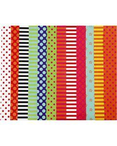 Papier glacé, motifs, 32x48 cm, 80 gr, couleurs assorties, 100 flles ass./ 1 Pq.