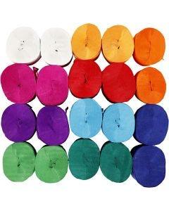 Papier crépon, L: 20 m, L: 5 cm, 22 gr, couleurs assorties, 20 rouleau/ 1 Pq.