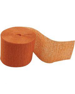 Papier crépon, L: 20 m, L: 5 cm, orange, 20 rouleau/ 1 Pq.